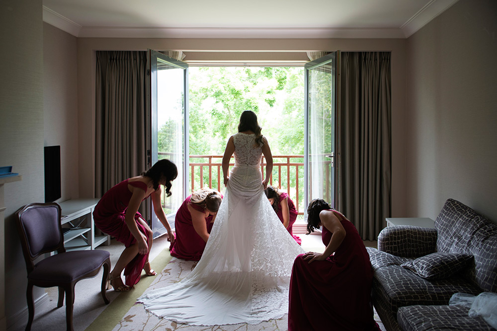 bride getting ready at druids glen hotel