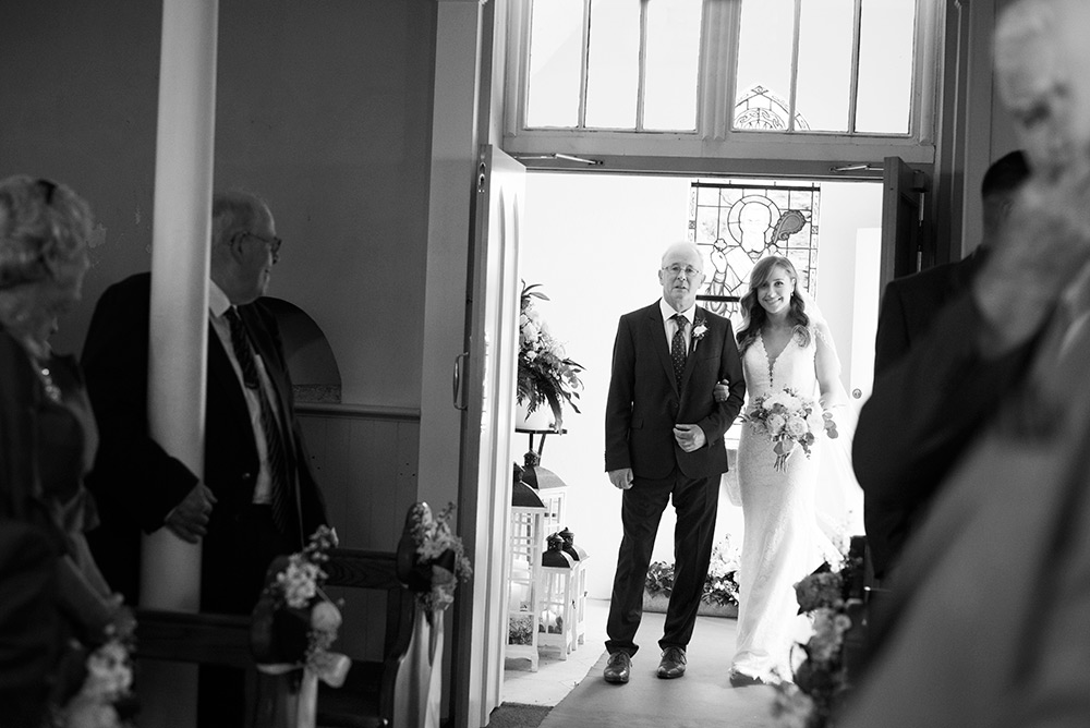 bride arriving for ceremony at St Patricks Church Kilquade wicklow