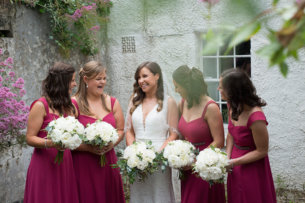 bridesmaids at st patricks church kilquade wicklow