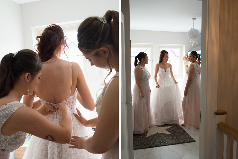 bride putting on her White Room Mullingar wedding dress