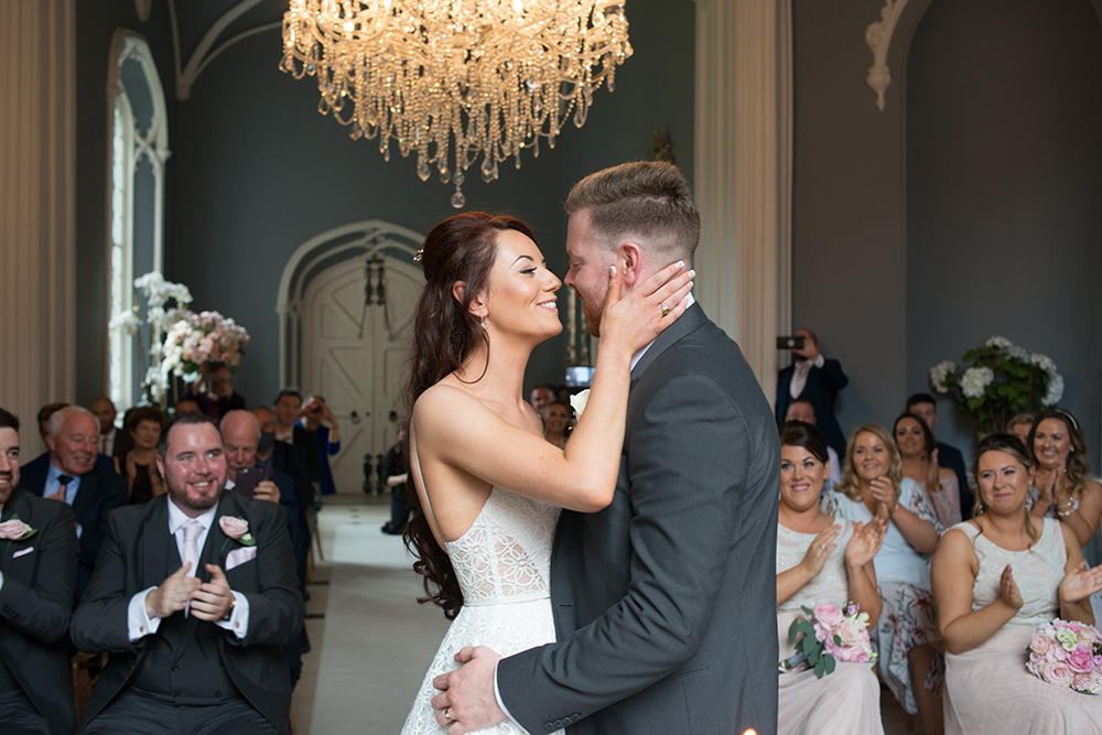 first kiss at covid wedding at Luttrellstown Castle