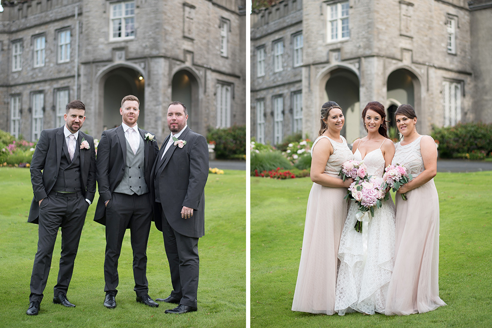 bridal party outside luttrellstown castle