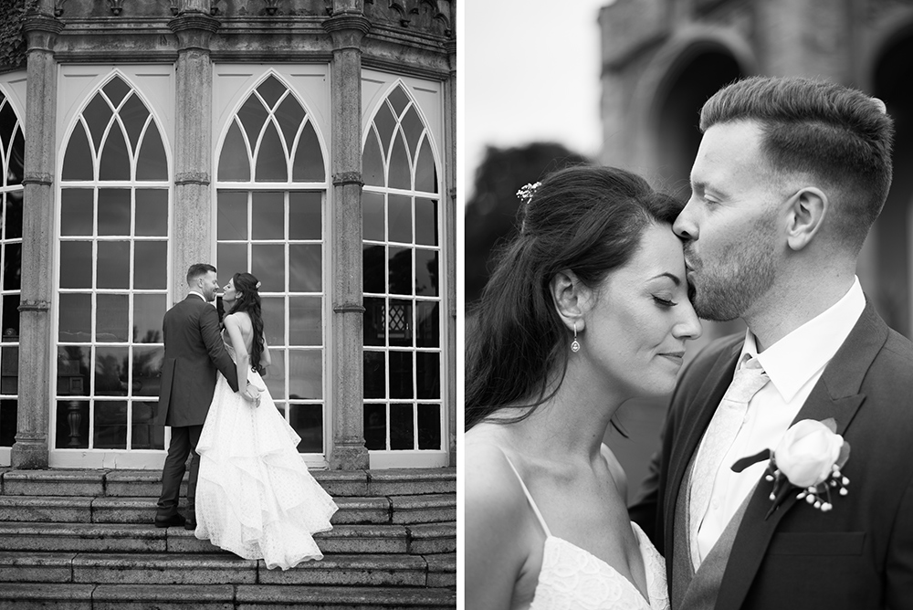 couple kissing at wedding outside luttrellstown castle