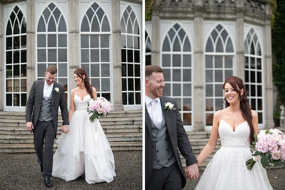 wedding couple on the grounds of luttrellstown castle