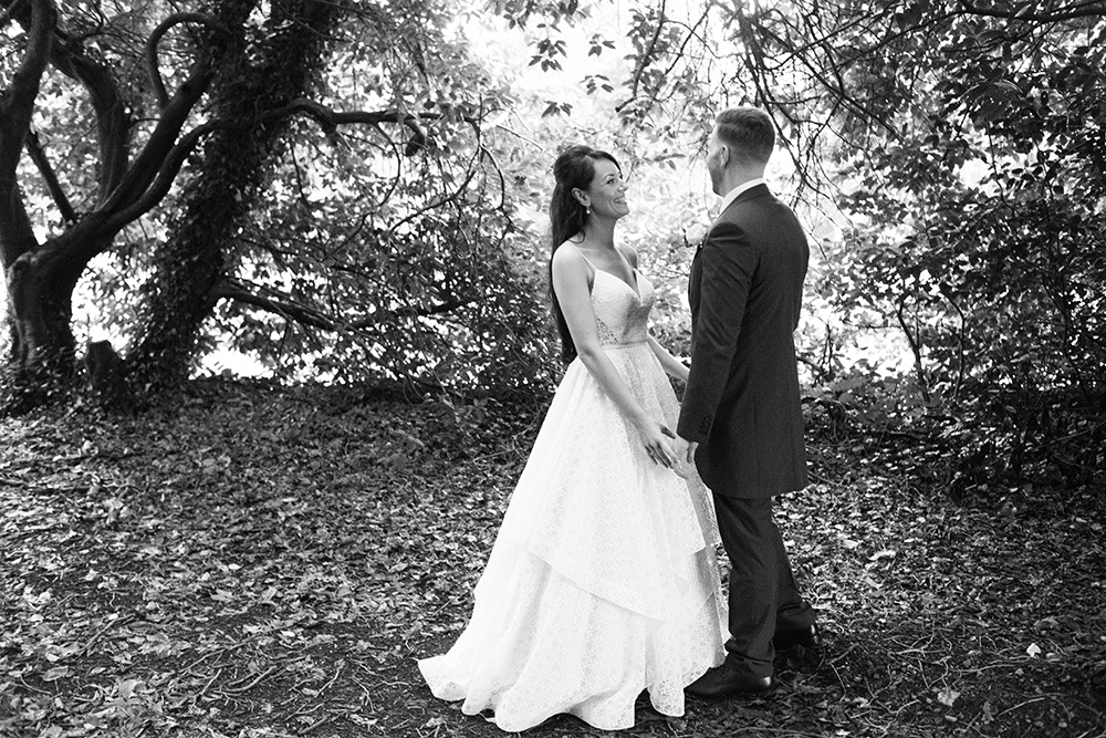 black and white photos of wedding at luttrellstown castle