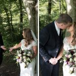bride and groom in forest at farnham estate