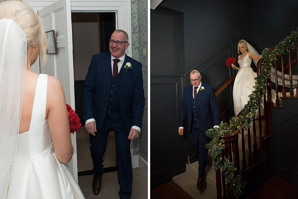 dad seeing the bride in her dress at boyne hill house estate wedding