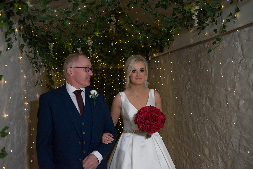 coming through the tunnel at boyne hill house estate wedding