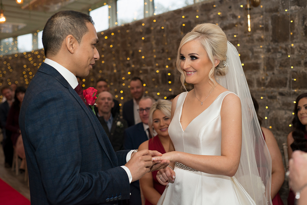 exchanging the rings at boyne hill house estate wedding ceremony