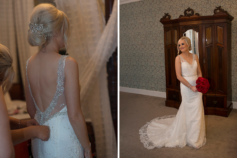 changing the wedding dress at boyne hill house estate