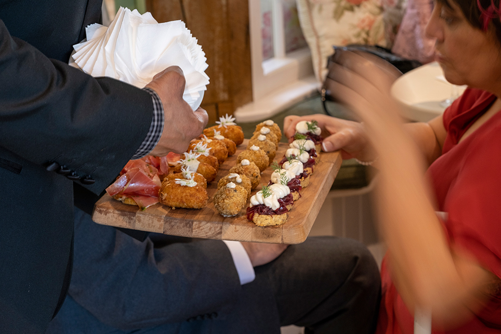 canapes in orangerie at wedding at cliff at lyons