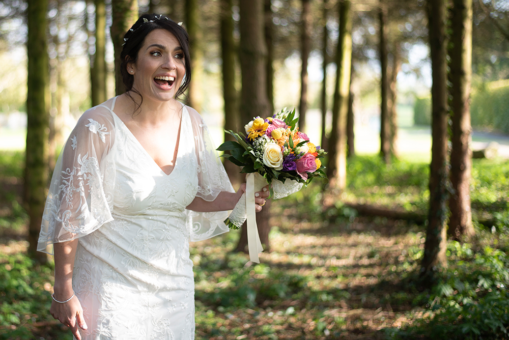 bride at killashee house hotel, bride in forest at killashee house hotel, killashee house hotel forest, wedding photography killashee house hotel forest, wedding at killashee house hotel, summer wedding at killashee house hotel