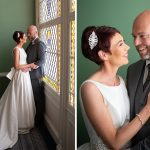 indoor wedding photos at staircase Shelbourne Hotel