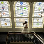 bride at staircase shelbourne hotel