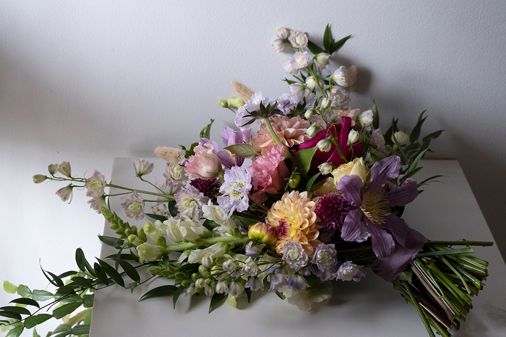flowers by tangled bramble