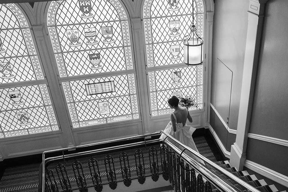 bride on staircase at Wedding at The Shelbourne Hotel