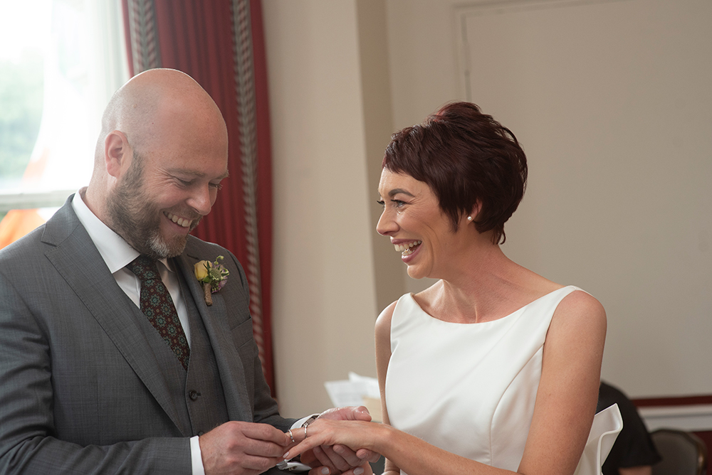 ring exchange at wedding at the Shelbourne Hotel