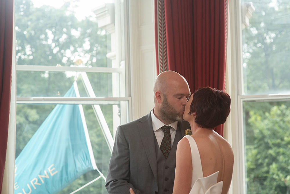 first kiss at wedding at the Shelbourne Hotel