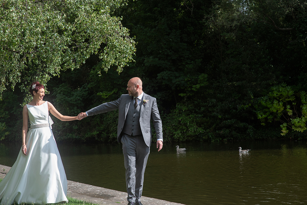 bride and groom in St Stephens Green park Dublin city centre
