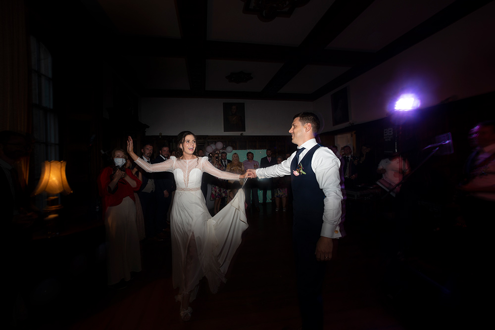 bride and groom dancing at wells house wedding