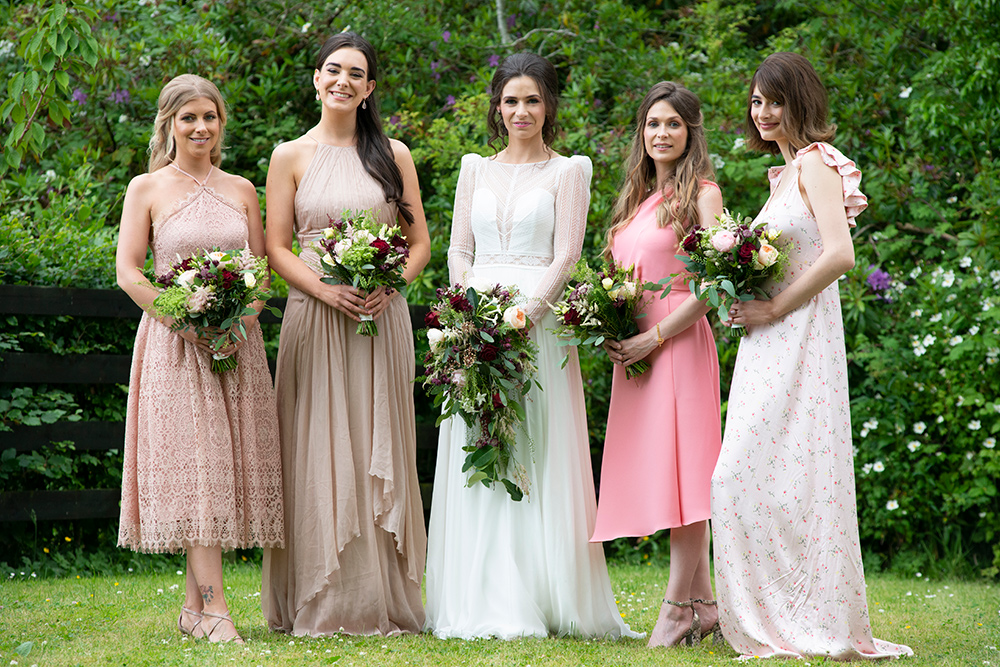 bridal party at wells house & gardens