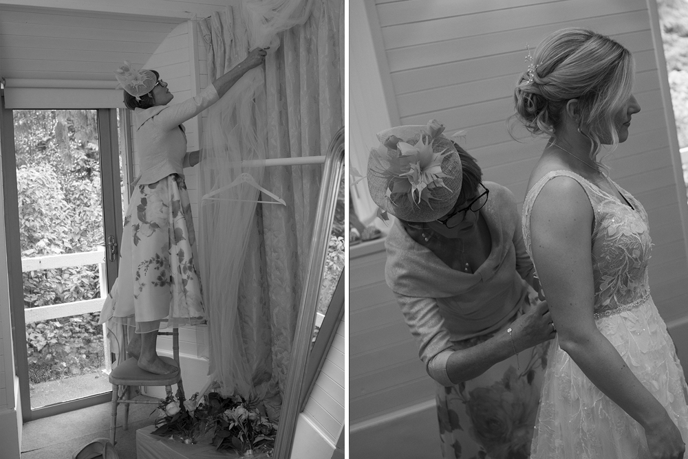 putting on wedding dress at a beautiful wedding in Rathsallagh House