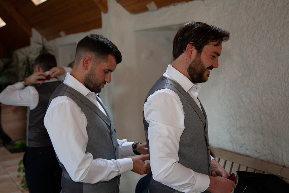groomsmen getting ready at a beautiful wedding at Rathsallagh House