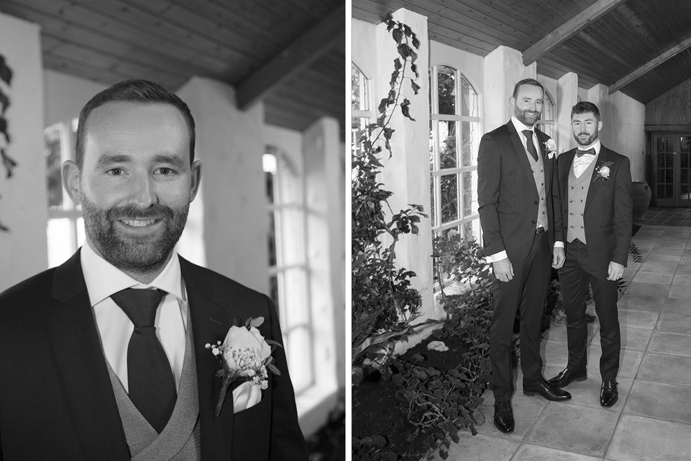 lads getting ready in conservatory at rathsallagh house wedding