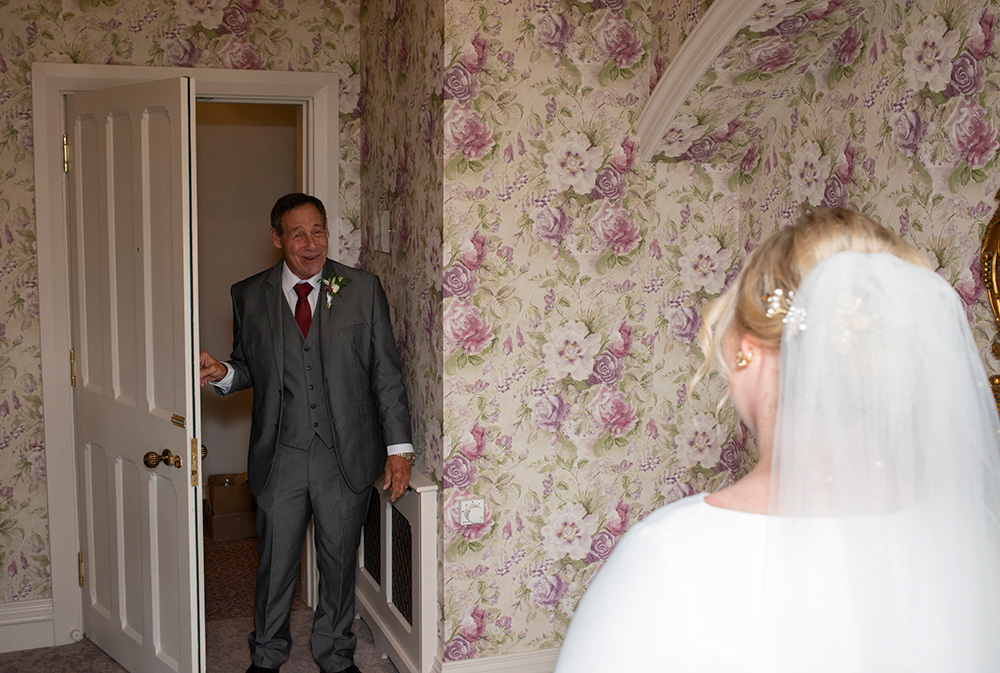 father of the bride first look at Kilkea Castle wedding